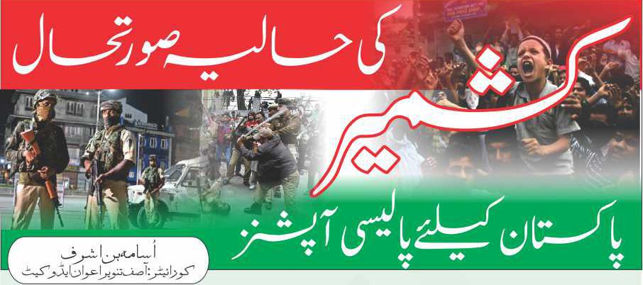 کشمیرکی حالیہ صورتحال : پاکستان کیلئےپالیسی آپشنز